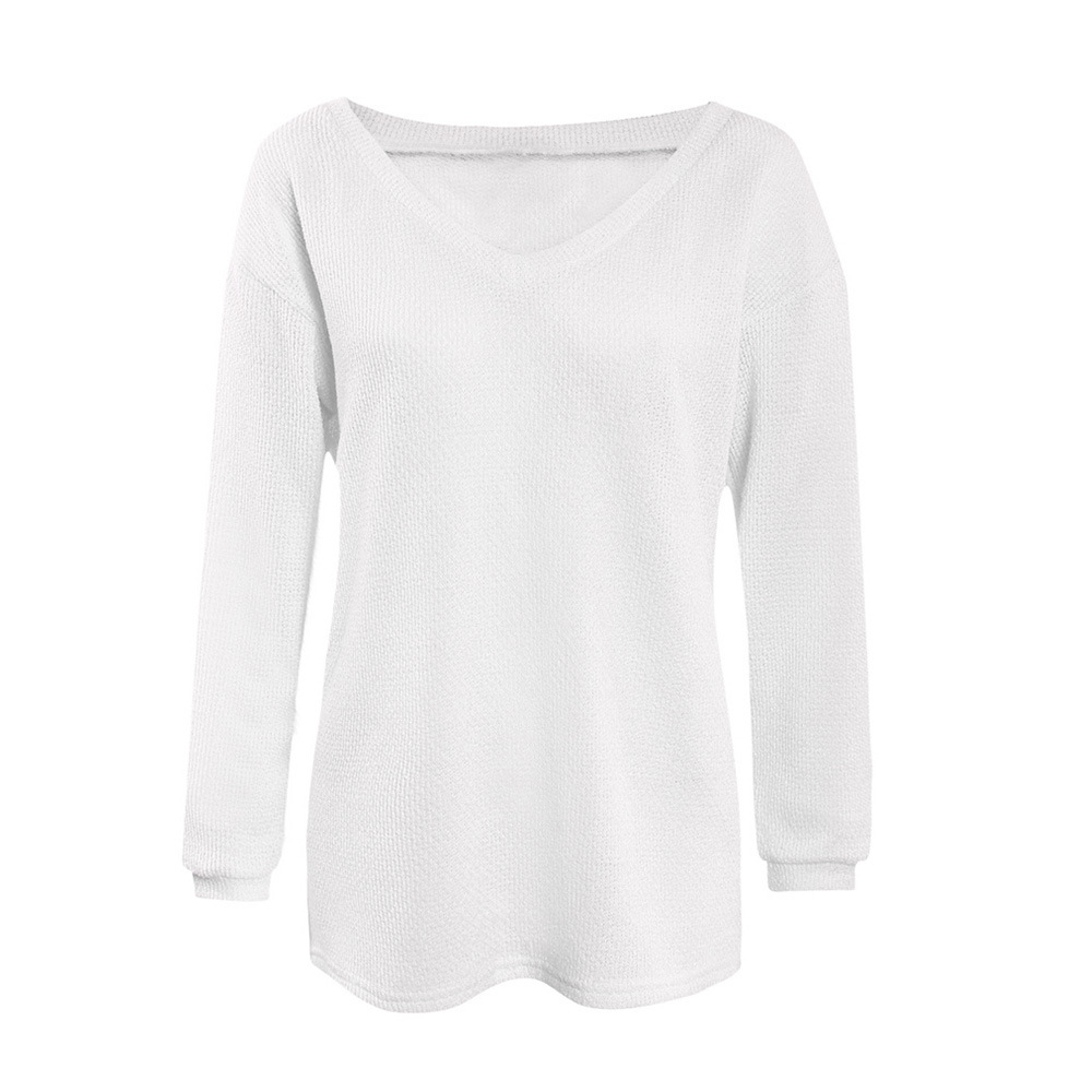 QA410 Loose Sweater Autumn Winter V Neck White Black 10 Colors Knitting Pullovers Women Jumpers Soft