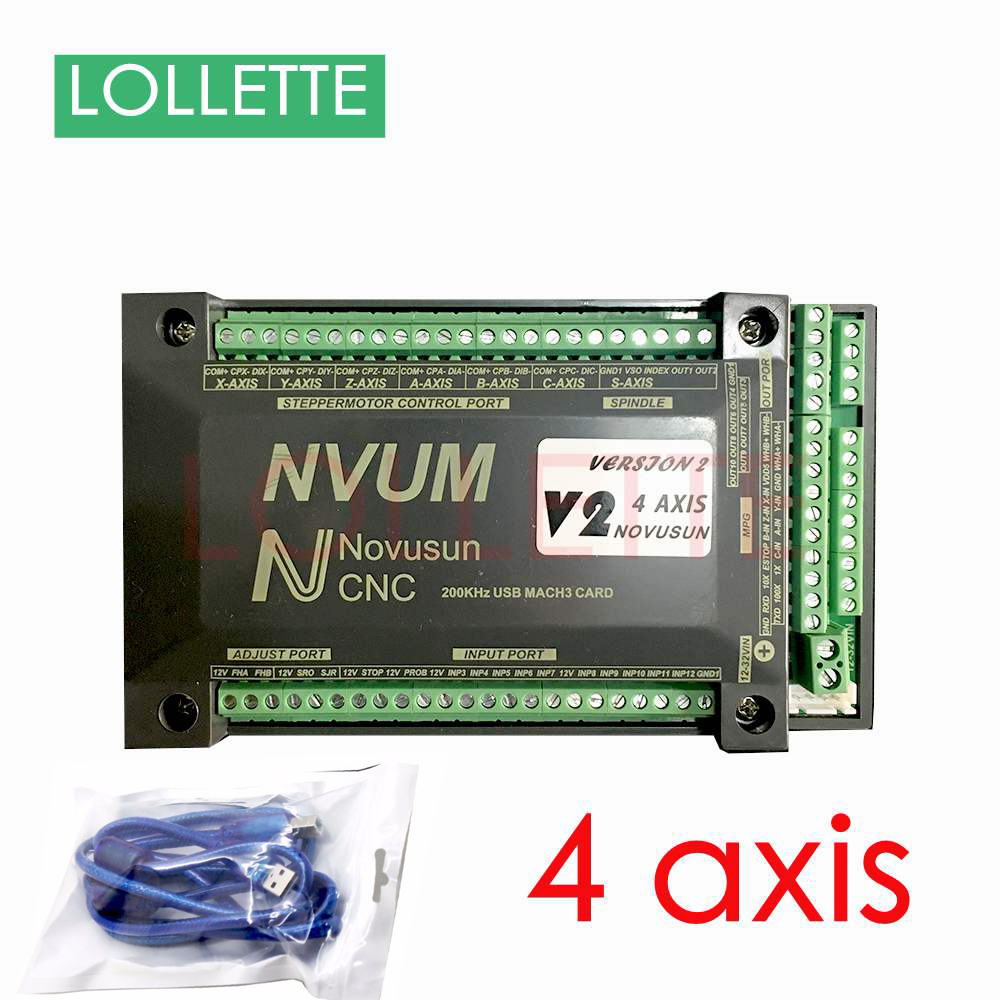 New 2018 NVUM 4 Axis CNC Controller MACH3 USB Interface Board Card 200KHz for Stepper Motor freeshipping 0 to 10 vpwm spindle speed controller mach3 interface board