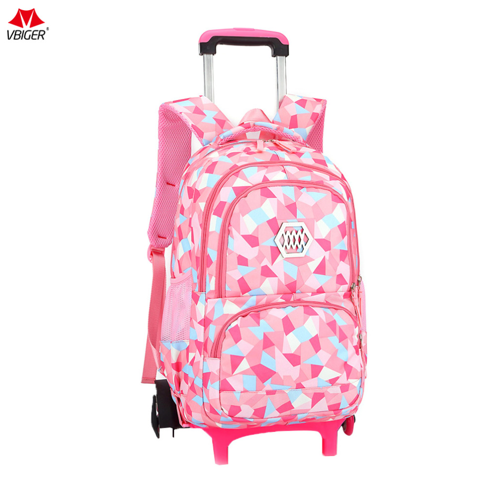 цена на Vbiger Children Girl Wheeled Backpack Adorable Daypack Large Capacity Trolley School Bag Rolling Bags for Students