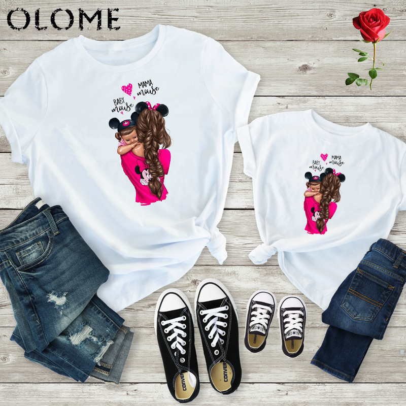 2019 New Print Family T Shirt Mommy And Me Clothes Short Sleeve Cotton Matching Family Outfits Kids&Woman Funny Camisetas Q0807