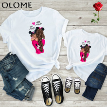 2019 New print family t shirt mommy and me clothes short sleeve cotton matching family outfits