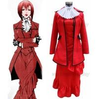Free Shipping Black Butler Kuroshitsuji Madam Red Angelina Durless Cosplay Costume Wig Custom Made for Halloween and Christmas