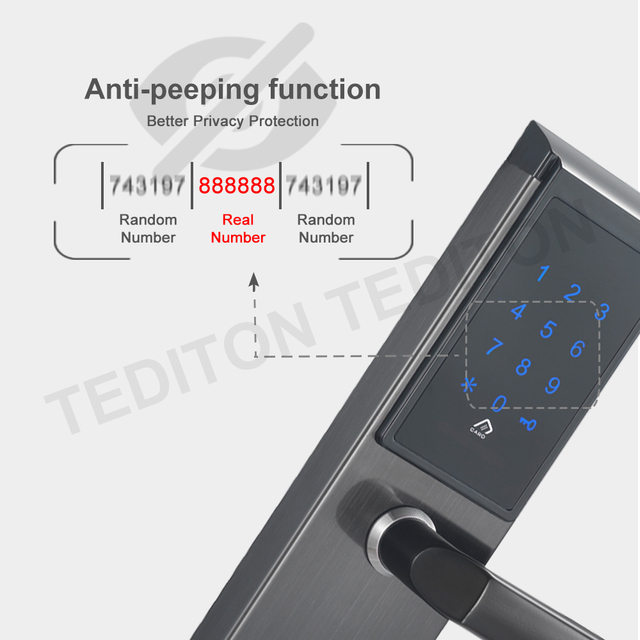 Electronic Door Lock, APP WIFI Smart Touch Screen Lock,Digital Code Keypad Deadbolt For Home Hotel Apartment