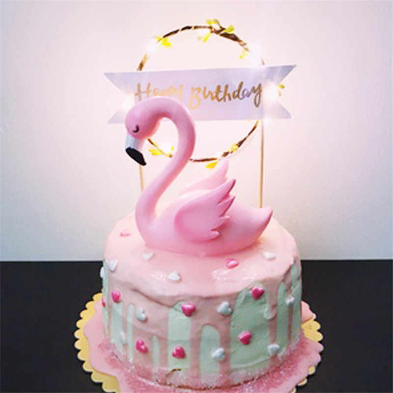 Surprising Flamingo Decoration Birthday Party Cake Topper Toys For Girls Baby Personalised Birthday Cards Bromeletsinfo