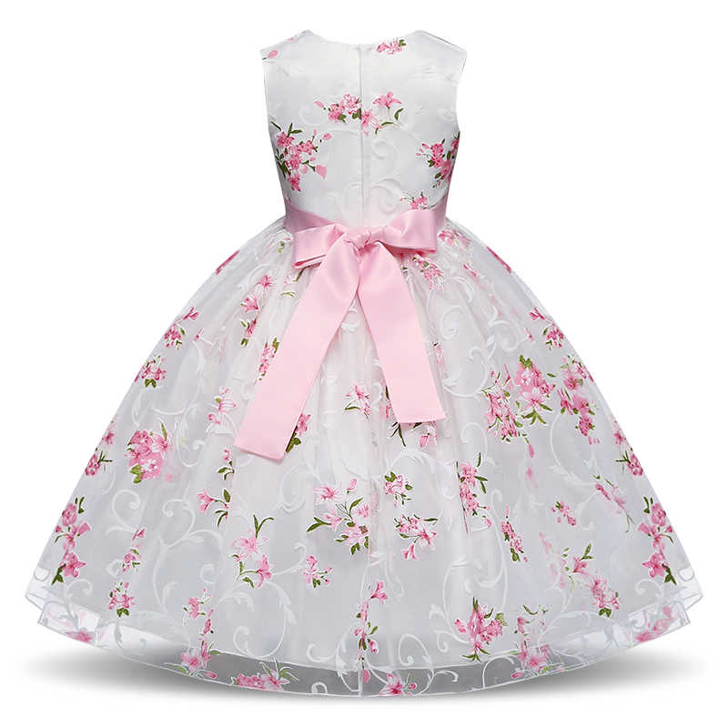e6d30fbe90756 Girls Baby Flower Dress for Wedding Party Girls Floral Print Tulle Dress  for Girl 4-10Y Children Clothing Flower in Sashes New