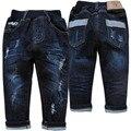 4014 pantalones vaqueros del agujero pantalones vaqueros del bebé niño de mezclilla otoño pantalones del bebé azul marino de la moda agradable simple nuevo