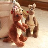 Kangaroo Pocket Doll Keychains Keyrings Plush Accessories Women Child Bag Charm Pendant Mini Stuffed Toy Car Keychain Gift