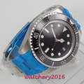 Мужские часы с черным циферблатом Miyota  44 мм корпус из нержавеющей стали  суперсветящийся автоматический циферблат  2019