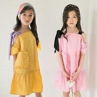 Cotton teen girl princess dress 2018 stitching fold off shoulder dress girl summer pink yellow kids clothes