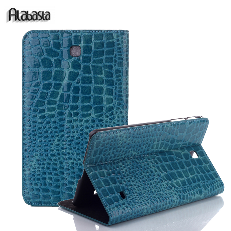 For samsung Galaxy tab 4 8.0 T330 T331 T335 SM-T331 SM-T330 Alabasta PU Crocodile Leather Cases Flip Stand cover Stylus crocodile pattern luxury pu leather case for samsung galaxy tab 4 8 0 t330 flip stand cover for samsung tab 4 8 0 t330 sm t330