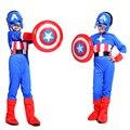Envío gratis del traje de Halloween cosplay niños traje de Capitán América shield boy mostrar disfraces Traje de Mascarada