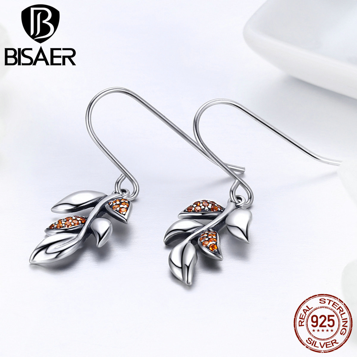 BISAER Genuine 925 Sterling Silver CZ Pave Autumn Elegant Leaf Long Drop Earrings for Women Silver Earrings Fine Jewelry GXE374
