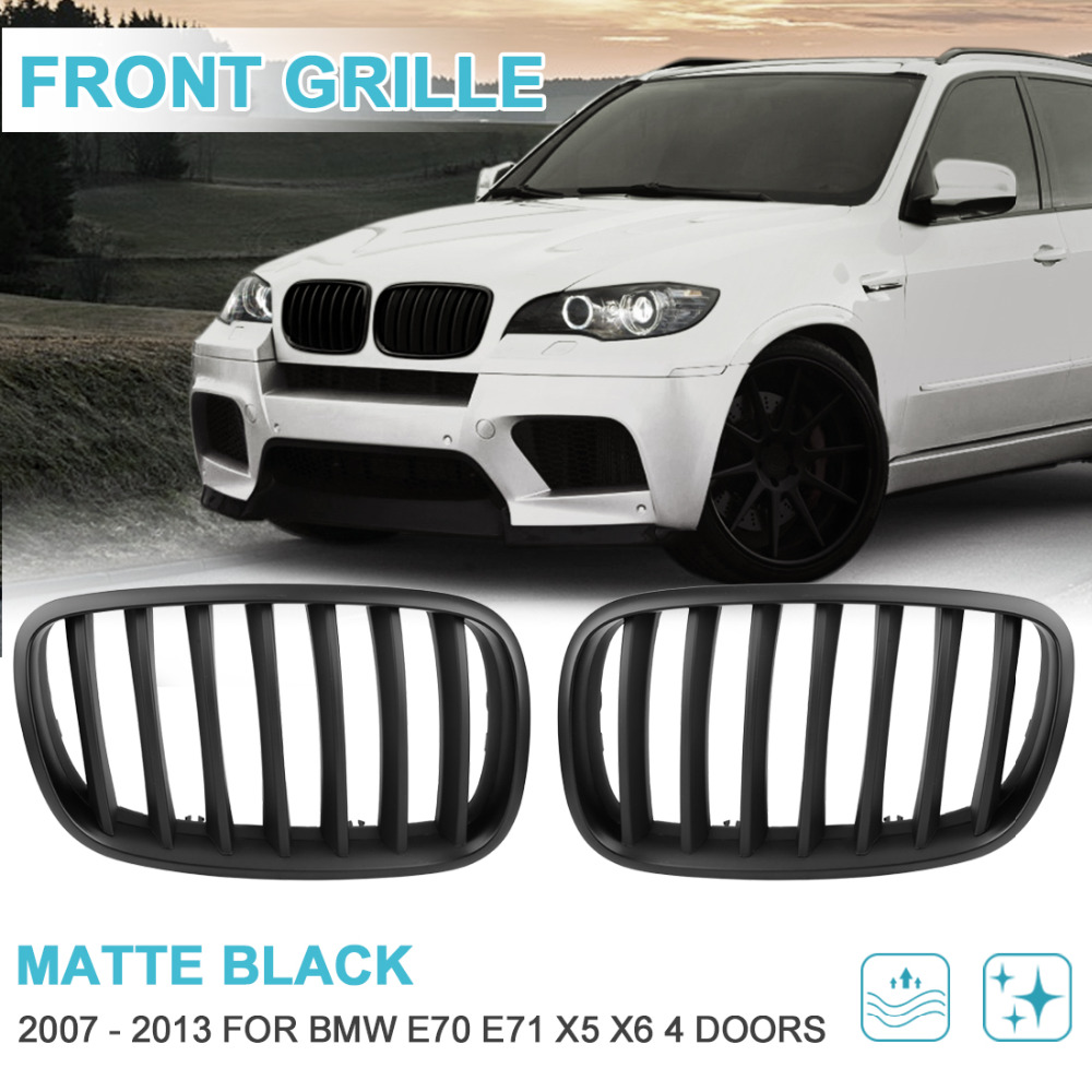 UXCELL 2pcs Matte Black Front Left & Right Hood Kidney Racing Grille Grill Cover for BMW E70 X5 E71 X6 4D 2007 To 2013