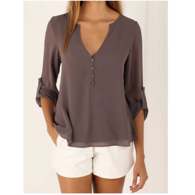 2019 Camisas de mujer verano otoño Casual cuello en V Blusa de gasa mujeres Tops y blusas de manga larga negro blanco señoras blusa camisa
