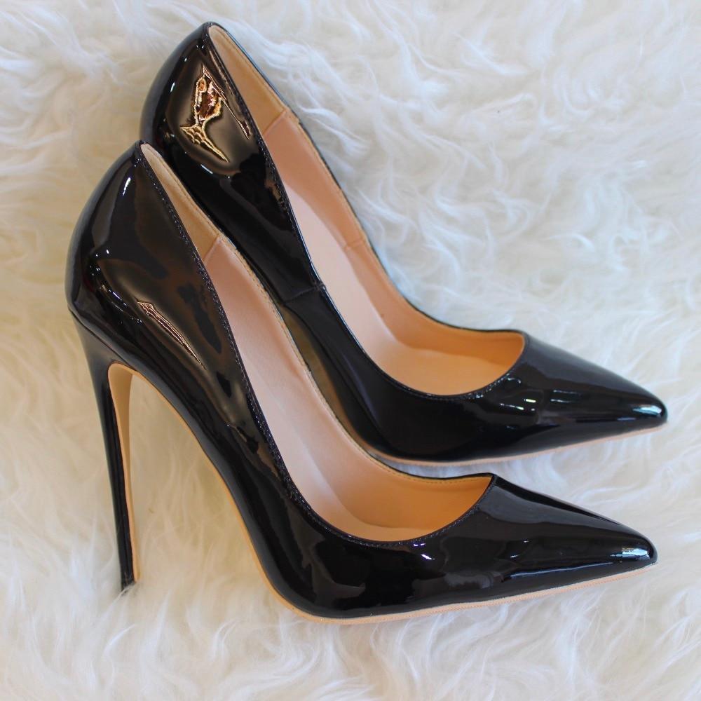 forme Livraison Talons 8 12 Bottes Cm Réel Plate 10 Noir Heeld Gratuite Cuir Haute Stiletto Pompes Verni Mode Femmes Chaussures En rwqBrxzPf