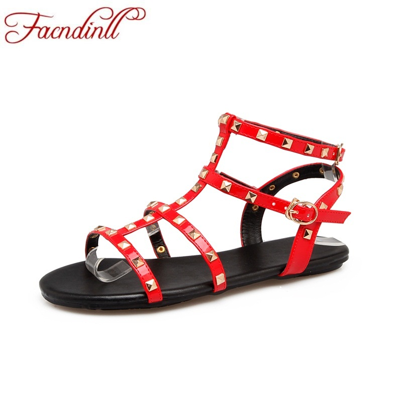 summer women 2018 new fashion rivrt buckle strap casual shoes woman flat sandals ladies causal simple office dress women shoes