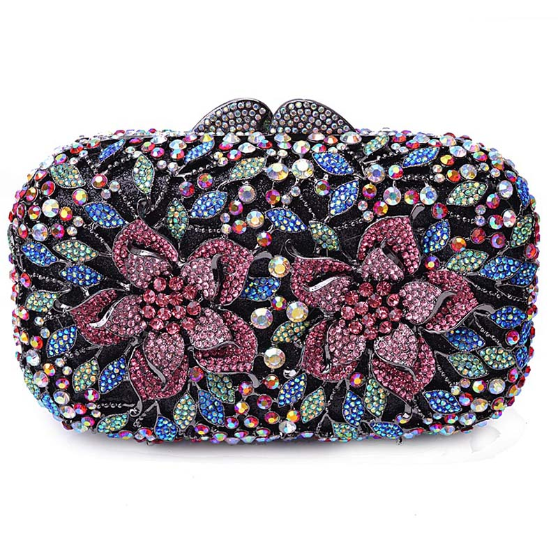 Newest Luxury Crystal Clutch Bag Flower Female Evening Bag Rhinestone Diamond Studded Handbags Women Wedding Bridal Party Purse newest luxury crystal clutch bag flower female evening bag rhinestone diamond studded handbags women wedding bridal party purse