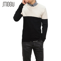 MOGU Men S Patchwork Sweater 2017 New Fashion Pattern Casual Sweater For Men Pullover Male WinterMen