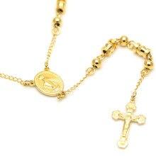 Acero inoxidable Collar y Colgantes de Largo Cadena de Cuentas Del Rosario de Jesús Virgen María Cristiana Joyería Religiosa Católica