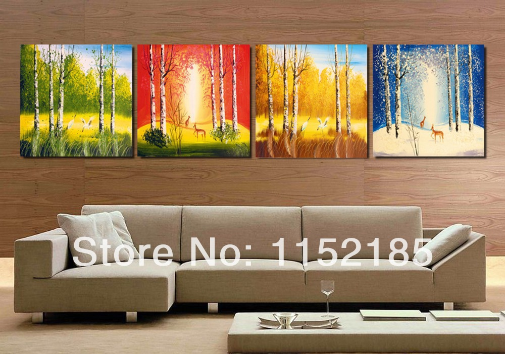 2017 hot sale direct selling beautiful four season cuadros decoracion painting 4 pieces set oil - Home decor direct sales companies concept ...