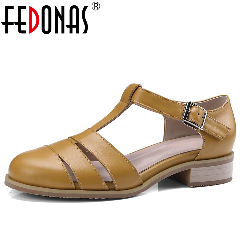FEDONAS Retro Women Sandals Rome Style Square Heel Genuine Leather Shoes Woman Buckle Comfort Casual Shoes Female Pumps