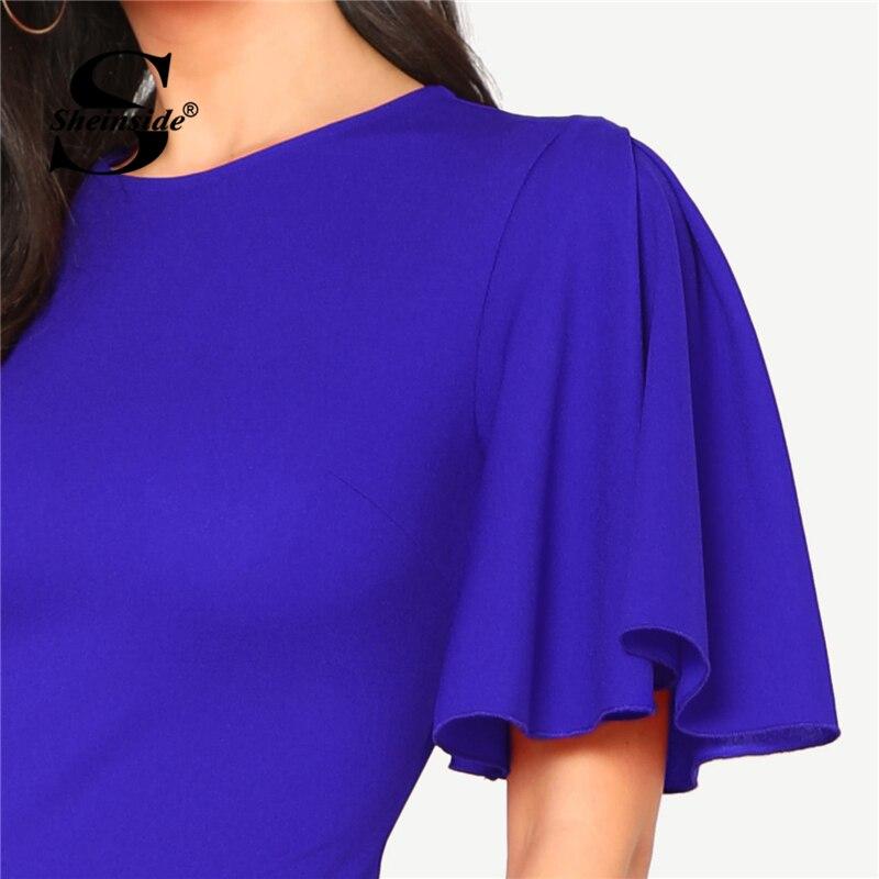 d58a245c6c ... Sheinside Royal Blue Pencil Dress Round Neck Ruffle Sleeve Bodycon ...