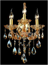 Maria Theresa Crystal Wall Sconces Light Fixture with 3 lights Amber color