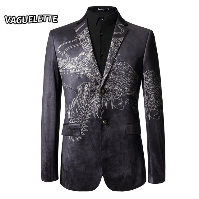 d6dbbb4d95d Veste Costume Homme Blazer Slim Fit 3D Printed Chinese Dragon Luxury Mens  Stage Jackets Velvet Mens Blazer Fashion M-3XL