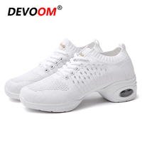 2019 Dance Sneakers For Women White Black Lace Up Sneakers Split Soles Mesh Cloth and Cow Split Vamp Breath Jazz Dancing Shoes E