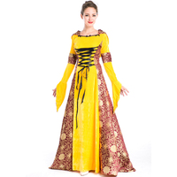 2017 New Hot Yellow Fashion Women Court Classical Noble Costume Outfit Halloween Costume Carnival Long Dresses