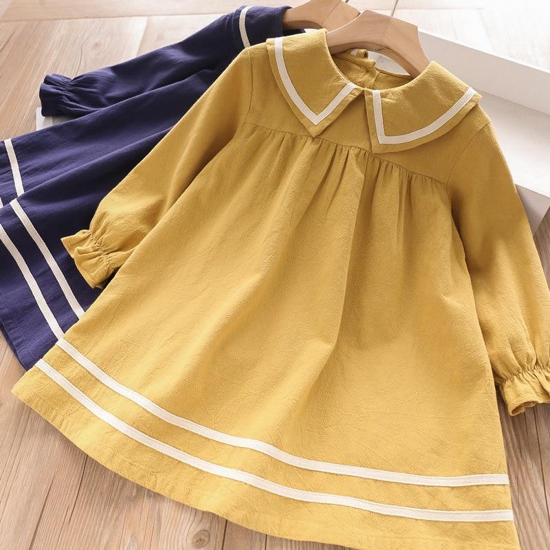 HTB1tXK1aQY2gK0jSZFgq6A5OFXan Bear Leader Girls Dress 2019 New Autumn Casual Ruffles A-Line Striped Full Sleeve Kids Dress For 3T-7T