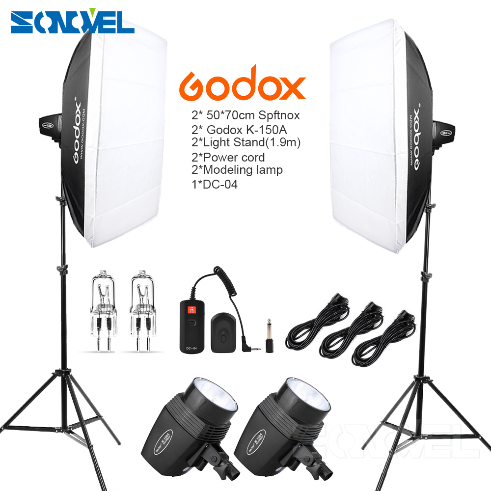 Godox K150A 300Ws 300W 2*150Ws Studio Strobe Room Photo Studio Photography Lighting With Softbox DC-04 Flash Trigger Kit