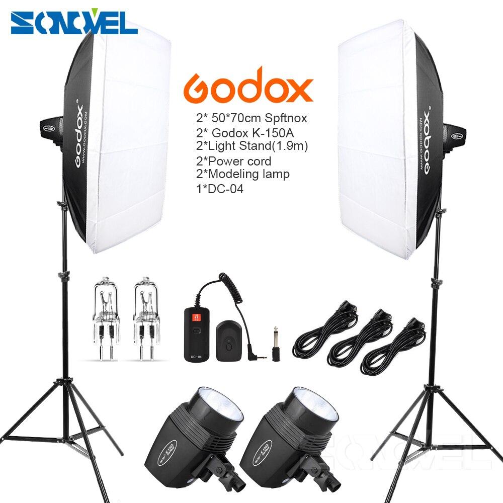 Godox K150A 300Ws 300W 2*150Ws Studio Strobe Room Photo Studio Photography <font><b>Lighting</b></font> with Softbox DC-04 flash Trigger Kit