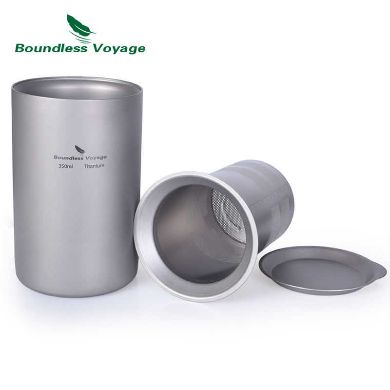Boundless Voyage Titanium Coffee Tea Cup with Filter Outdoor Camping Portable Double-wall Mug Tableware 350ml