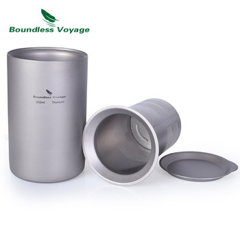 Boundless Voyage Titanium Coffee Tea Cup with Filter Outdoor Camping Portable Double-wall Mug Tableware 350ml ultra light titanium cup mug flower pot outdoor tableware camping cup picnic cup mug coffee tea with lid folding handle 350ml