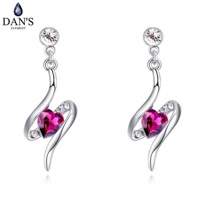 DANS 6 Colors Real Austrian crystals Stud earrings for women Earrings s New Sale Hot Round 129535