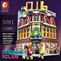Sembo город МОС StreetView 5in1 ночной клуб бар курортный отель Совместимость Legoing строительные блоки кирпичи Streetscape со светодиодный подсветкой