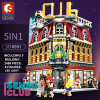 Sembo MOC City StreetView 5in1 Nightclub Bar Resort Hotel Compatible Legoing Building Blocks Bricks Streetscape With LED Light