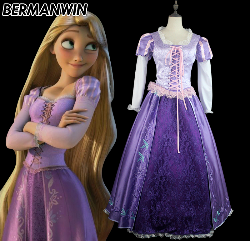 BERMANWIN High Quality Tangled Rapunzel Costume Princess Rapunzel dress fancy Adult Women Halloween Cosplay Costume