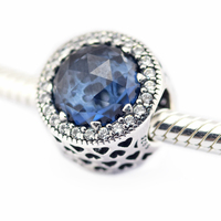 Pandulaso Radiant Hearts Moonlight Blue Charm Fit Chamilia DIY Loose Bead Bracelets Beads For Jewelry Making
