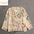 Ручной Вышивки Летом Шифона Рубашку Блесток Этнические Шаблон O Шеи Блузка 3/4 Рукавом Цветочный Топы Blusa Camisas Mujer Haut