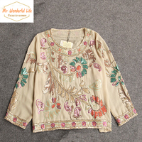 Women Vintage Handmade Ethnic Embroidery 3 4 Sleeve Shirts Chiffon Sequined Flower Blouse 2015 European Royal
