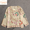 Handmade Embroidery Summer Chiffon Shirt Sequin Ethnic Pattern O Neck Blouse 3/4 Sleeve Floral Tops Camisas Blusa Mujer Haut