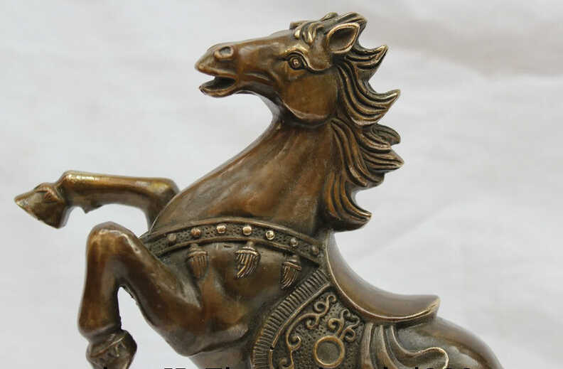 """SCY Elegant old S1770 10 """" China Chinese Bronze Successful Tang Zodiac Year Horse Money Wealth Statue (A 0319 discount 35%)"""