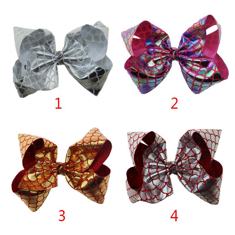 "40pcs DHL Free shipping JojoSiwa Mermaid Bow Hair Costume 8"" Large Hair Accessory"