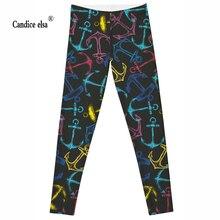 CANDICE ELSA women leggings workout legging fitness female pants elastic anchor printed sexy trousers plus size wholesale