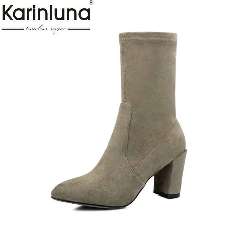 KARINLUNA brand new 8 colors pointed toe slip on woman shoes woman fashion high heels party boots lady footwear cow suede silk lady glitter high fashion designer brand bow soft flock plus size 43 leisure pointed toe flats square heels single shoes slip on