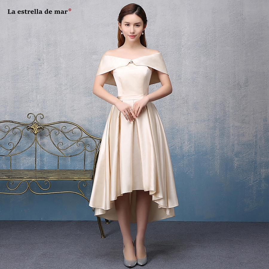 Abito damigella 2019 new satin Boat Neck short sleeve champagne high low   bridesmaid     dress   Tea Length vestido madrinha plus size
