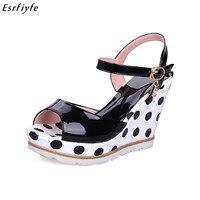 ESRFIYFE Plus Size 10 Women Sandals Ankle Strap Straw Platform Wedges for Female Shoes Flock High Heels Cover Heel Sandals