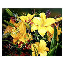 Living Room Decoration,Wall Photos For Room,Yellow Lily,Diy Oil Painting By Numbers